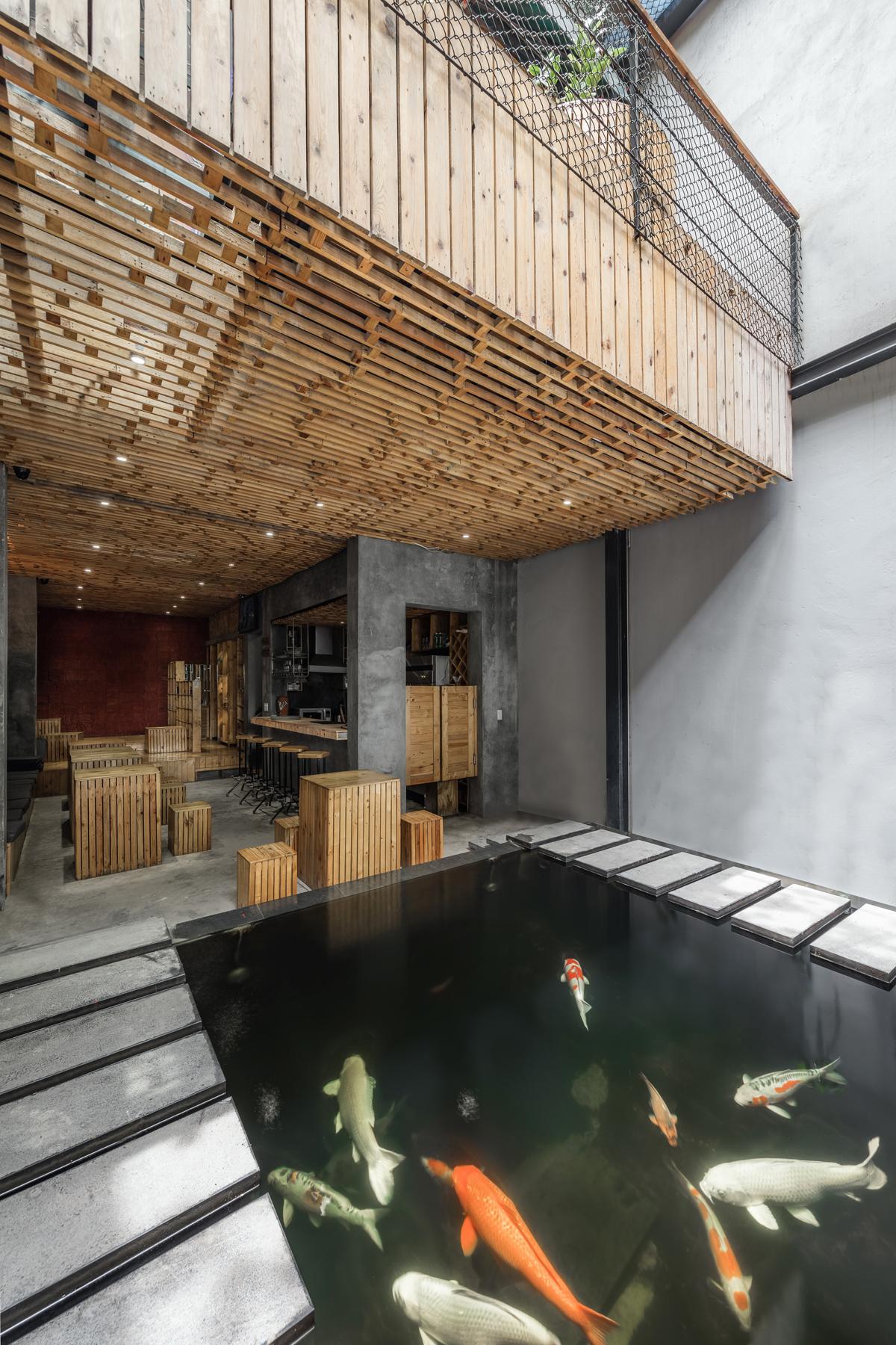 Poissons Koi dans l'aquarium du café