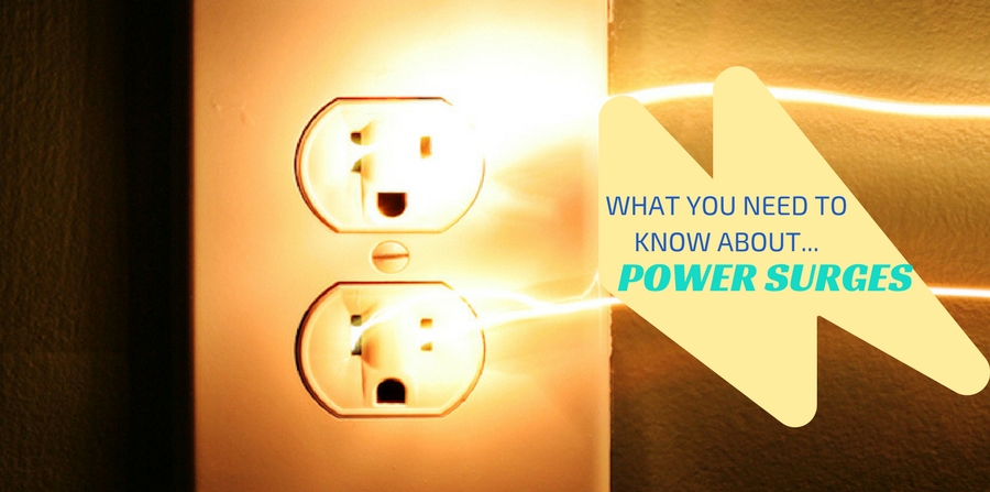 """Electricity arcing out of a home wall outlet. """"What you need to know about power surges"""""""